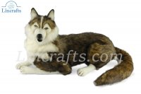 Soft Toy Husky Laying by Hansa (100cm) 7501