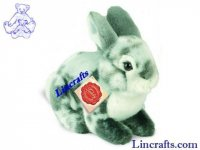 Soft Toy Grey Bunny Rabbit by Teddy Hermann (19cm) 93759
