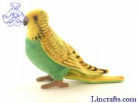 Soft Toy Bird, Green Budgerigar by Hansa (13cm)