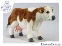 Soft Toy Brown & White Cow by Hansa (40cm)