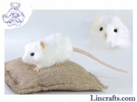 Soft Toy Rodent, White Rat by Hansa (12cm)
