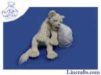 Soft Toy Wildcat, White Lion Sleeping by Hansa (49cm)