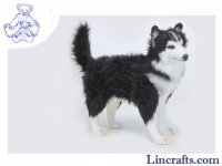 Soft Toy Dog, Black & White Husky by Hansa (56cm)