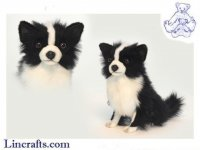 Soft Toy Dog, Black & White Chihuahua by Hansa (14cm.H)