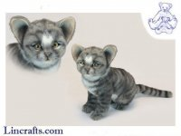 Soft Toy Cat, Grey Kitten Sitting by Hansa (24cm.H)