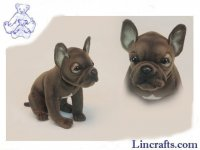 Soft Toy Dog, French Bulldog by Hansa (20cm)