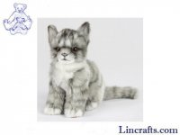 Soft Toy Grey Tabby Cat by Hansa (19cm.H)