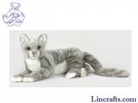 Soft Toy Grey Tabby Cat by Hansa (37cm.L)