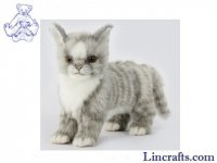 Soft Toy Cat, Grey Kitten Standing by Hansa (22cmL)
