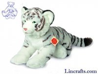 Soft Toy Wildcat, White Tiger Lying by Teddy Hermann (40cm) 90466