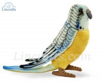 Soft Toy Bird, Blue Budgerigar by Hansa (13cm)