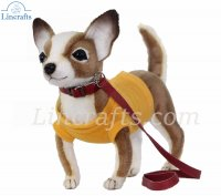 Soft Toy Chihuahua with Yellow Shirt & Red Lead (24cm) 7548