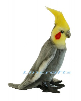 Soft Toy Bird, Grey Cockatiel by Hansa (23cm)