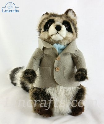 Soft Toy Dressed Boy Raccoon by Hansa (29cm) 7828
