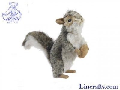 Soft Toy Grey Squirrel With Nut by Hansa (20cm)
