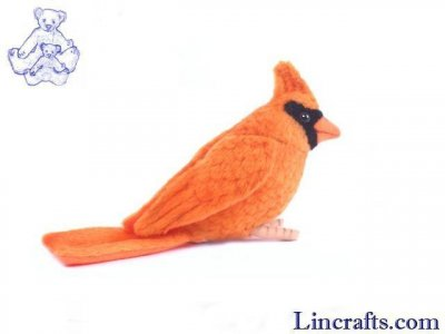 Soft Toy Bird, Orange Cardinal by Hansa (9cm.L) 5518
