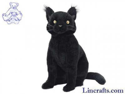Soft Toy Black Cat Sitting by Hansa (35cm) 7012