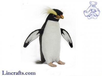 Soft Toy Bird, Crested Penguin by Hansa (24cm. H)