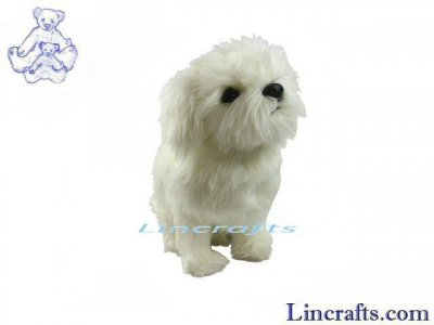 Soft Toy Dog, White Shih Tzu by Hansa (36cm.L) 7323
